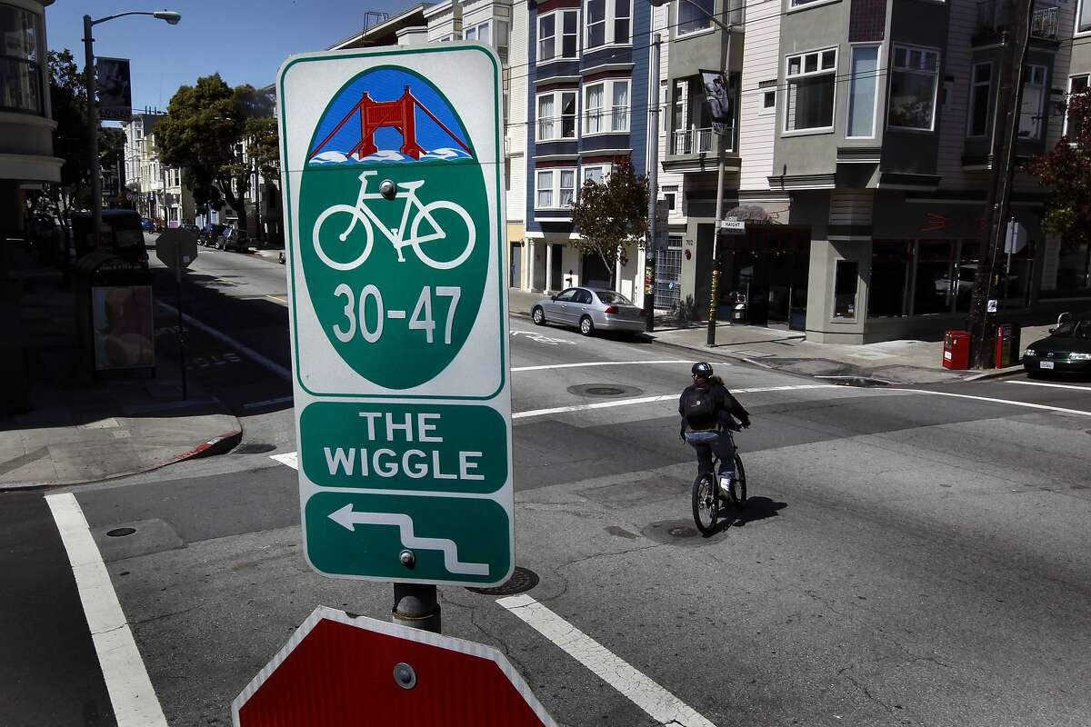 Corner of Haight and Pierce Streets, for a Bike About Town feature on the bike paththat winds it's way through the Lower Haight known to bikers as the,