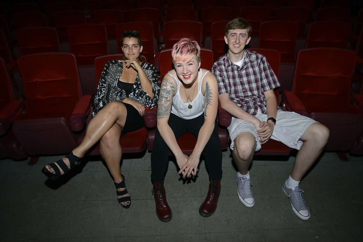 Madeleine Smith (left), Nikki Born (middle), and Nolan England (right) attend Diablo Valley College and pose for a photo inside the Grand Lake Theatre in Oakland, California, on Wednesday, July 29, 2015. They are the founders of Block 'n Roll Film and are hosting the Block 'n Roll Film Festival showcasing community college students film work at the Grand Lake Theatre on Aug. 26.