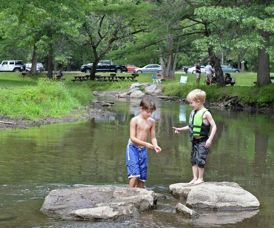 Cousins Christopher Jerdo, 8 of Latham and Mason Janik, 5, of Schuylerville keep cool wading in Geyser Brook at Saratoga Spa State Park Saturday July 25, 2015 in Saratoga Springs, NY.  (John Carl D'Annibale / Times Union) Photo: John Carl D'Annibale / 00032751A