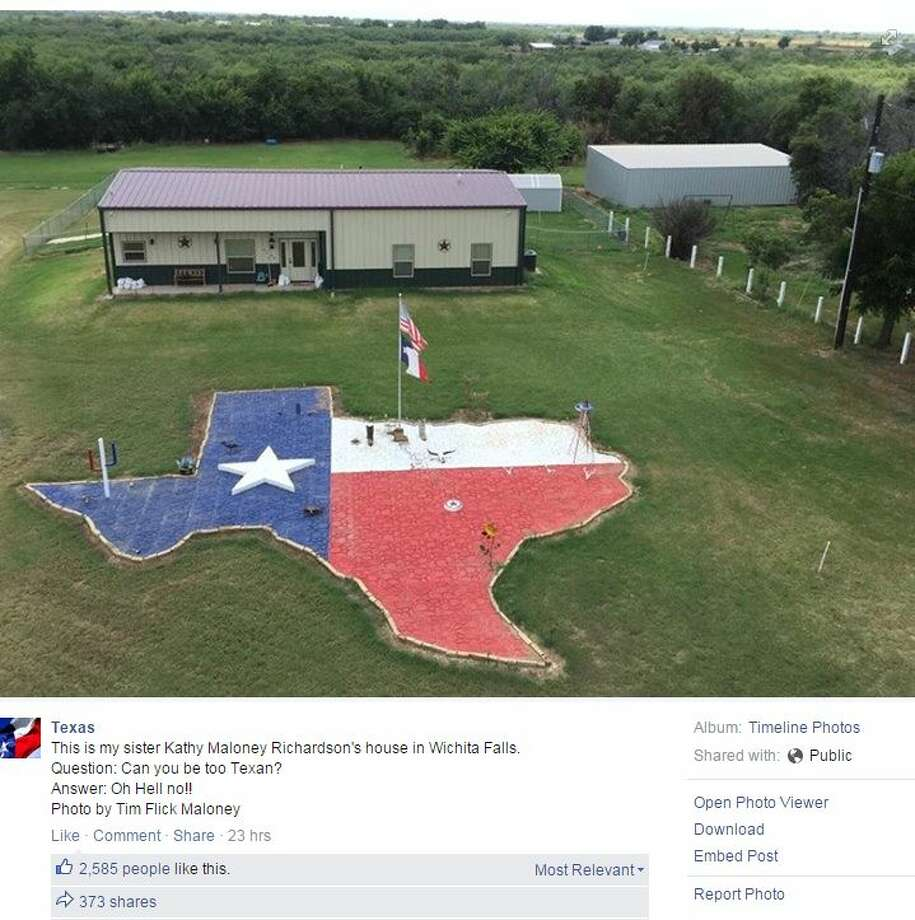 "A homeowner in North Texas proved there's no such thing as being ""too Texan,"" when she constructed a giant patio in the shape of the Lone Star State in her yard."