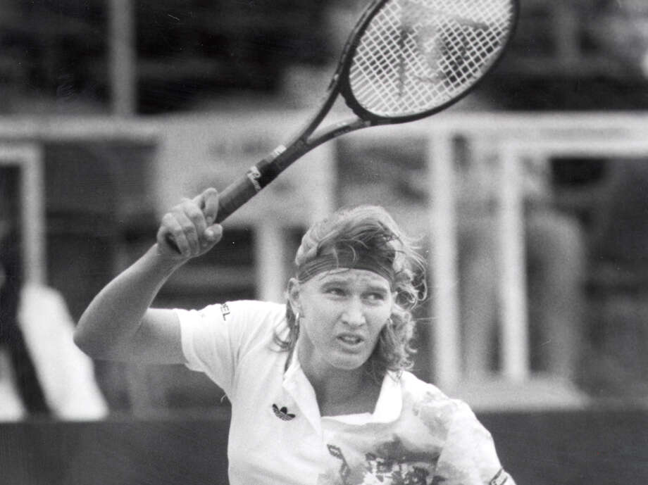 Steffi Graf gets ready to return the ball in her match against Audra Keller at the U.S. Women's Hardcourt Championships at MacFarlin Tennis Center on March 26, 1991. Graf defeated Keller, 6-2, 6-1. Photo: Bob Owen /San Antonio Express-News / SAN ANTONIO EXPRESS-NEWS