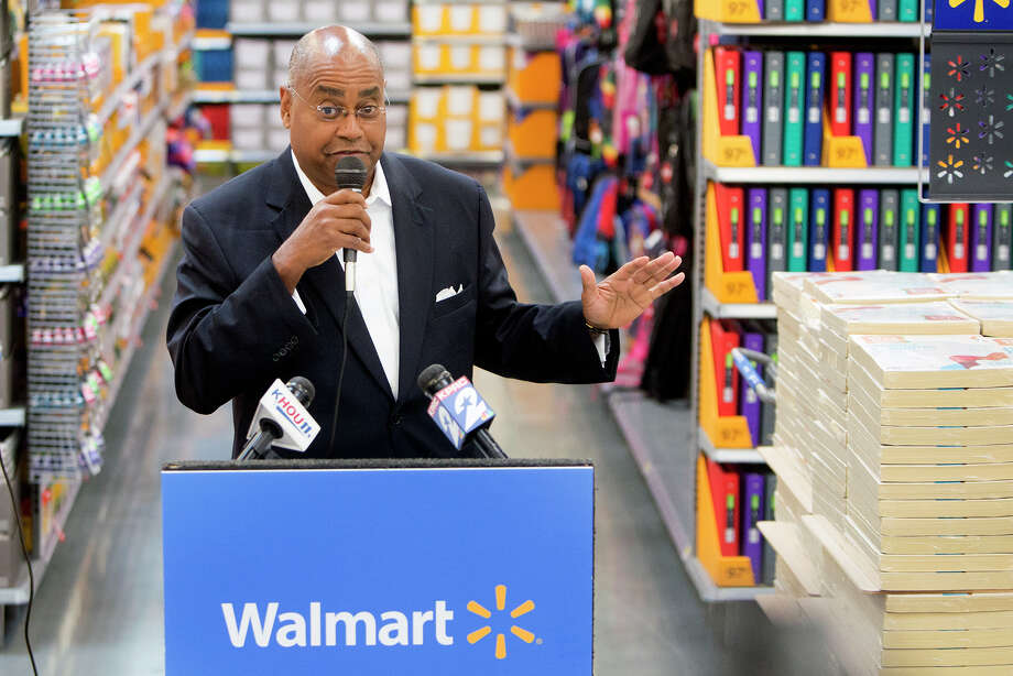 Senator Rodney Ellis speaks to the media in preparation for Tax-Free Weekend, at Walmart's brand new Galleria Supercenter, Wednesday, July 29, 2015, in Houston. Senator Ellis, who authored the original Tax-Free Weekend Bill, and Walmart, shared details on how to prepare, what is tax-free and what is not, and what the holiday means for business and consumers. (Cody Duty / Houston Chronicle) Photo: Cody Duty, Staff / © 2015 Houston Chronicle