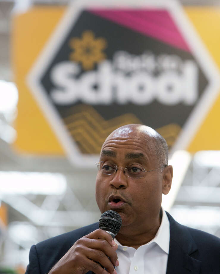Senator Rodney Ellis speaks to the media in preparation for Tax-Free Weekend, at Walmart's brand new Galleria Supercenter, Wednesday, July 29, 2015, in Houston.  Photo: Cody Duty, Staff / © 2015 Houston Chronicle