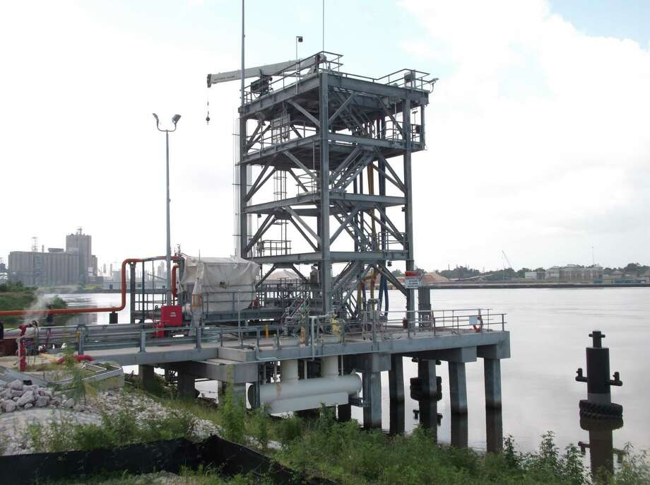The structure where Landon Russell died in an alleged work-related accident on the Orange County side of the Port of Beaumont.