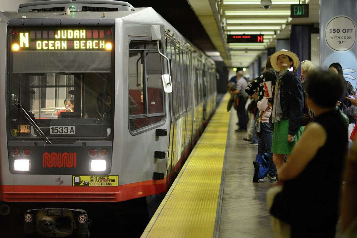 MUNI riders wait on the platform at the Metro Powell Station in San Francisco, California, on Tuesday, July 28, 2015.