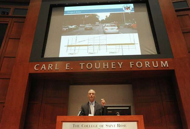 Mark Sargent of Creighton Manning Engineering talks about the Madison Avenue road diet plans for bicycle accommodations during an open fourm at the College of Saint Rose on Wednesday July 29, 2015 in Albany, N.Y. (Michael P. Farrell/Times Union) Photo: Michael P. Farrell / 10032825A