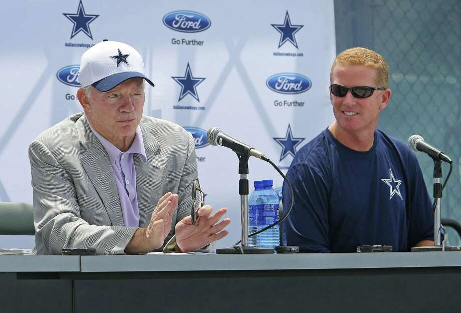 """Dallas Cowboys owner Jerry Jones, left, speaks as head coach Jason Garrett listens during the team's annual """"state of the Cowboys"""" news conference at training camp in Oxnard, Calif., on Wednesday, July 29, 2015. Photo: Paul Moseley /Fort Worth Star-Telegram / Fort Worth Star-Telegram"""