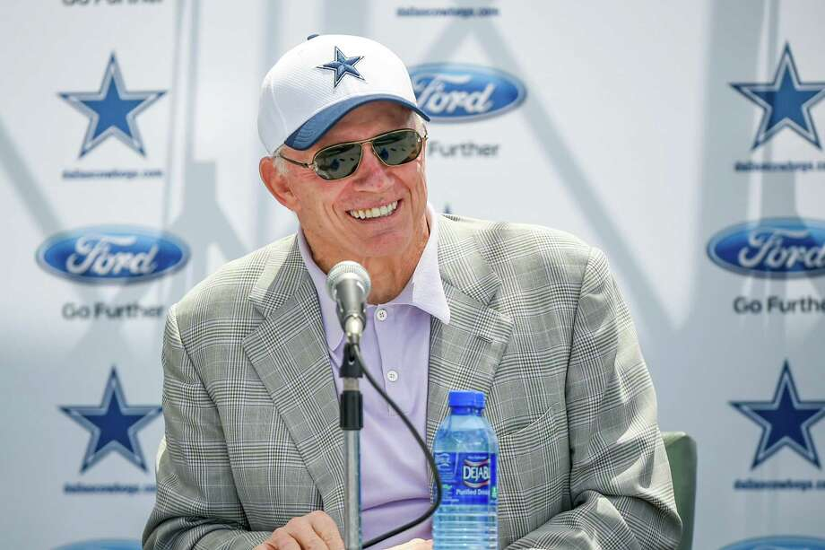 """Dallas Cowboys owner Jerry Jones answers a question during the """"state of the team"""" news conference at the start of Dallas Cowboys' NFL training camp, Wednesday, July 29, 2015, in Oxnard, Calif. Photo: Gus Ruelas /Associated Press / FR157633 AP"""