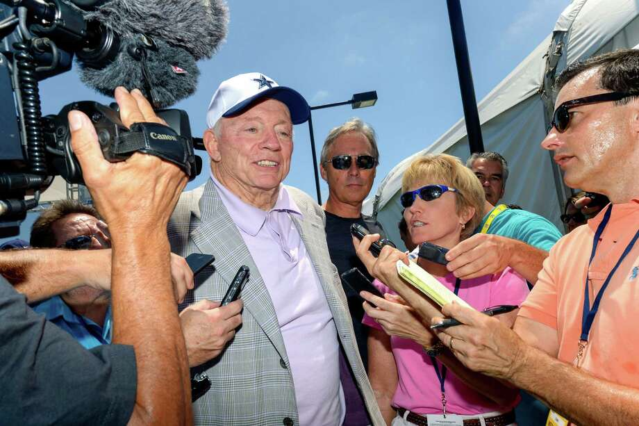 """Dallas Cowboys owner Jerry Jones fields question from the news media during the """"state of the team"""" press conference at the start of Dallas Cowboys' NFL training camp, Wednesday, July 29, 2015, in Oxnard, Calif. Photo: Gus Ruelas /Associated Press / FR157633 AP"""