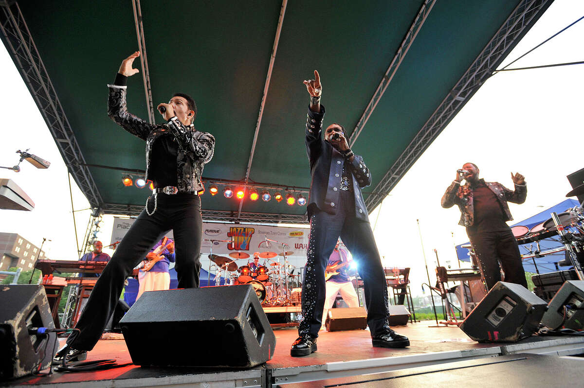 Members of The Commodores perform on stage during the final Jazz-Up July concert of the summer at Columbus Park in Stamford on Wednesday.