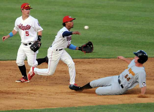Tri-City ValleyCats Antonio Nunez turns a double play during their game against the West Virginia Black Bears at Joe Bruno Stadium on Wednesday July 29, 2015 in Troy, N.Y. (Michael P. Farrell/Times Union) Photo: Michael P. Farrell / 00032765A