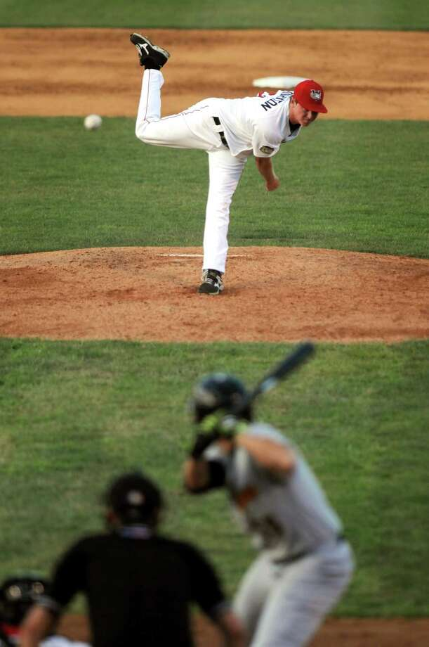 Tri-City ValleyCats Trent Thornton deals a pitch during their game against the West Virginia Black Bears at Joe Bruno Stadium on Wednesday July 29, 2015 in Troy, N.Y. (Michael P. Farrell/Times Union) Photo: Michael P. Farrell / 00032765A