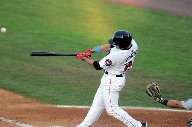 Tri-City ValleyCats Pat Porter hits a double during their game against the West Virginia Black Bears at Joe Bruno Stadium on Wednesday July 29, 2015 in Troy, N.Y. (Michael P. Farrell/Times Union) Photo: Michael P. Farrell / 00032765A