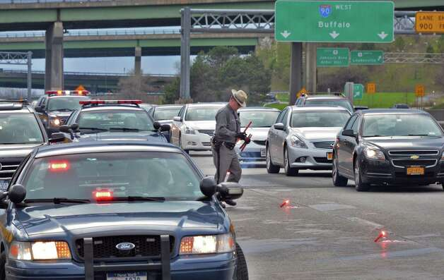 NY State Police block off a lane of I-90 at exit 6A Saturday May 3, 2014, in Albany, N.Y.  (John Carl D'Annibale / Times Union archive) Photo: John Carl D'Annibale