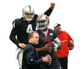 Questions  hang over Derek Carr, Jack Del Rio, Colin Kaepernick and Jim Tomsula as the NFL season approaches.
