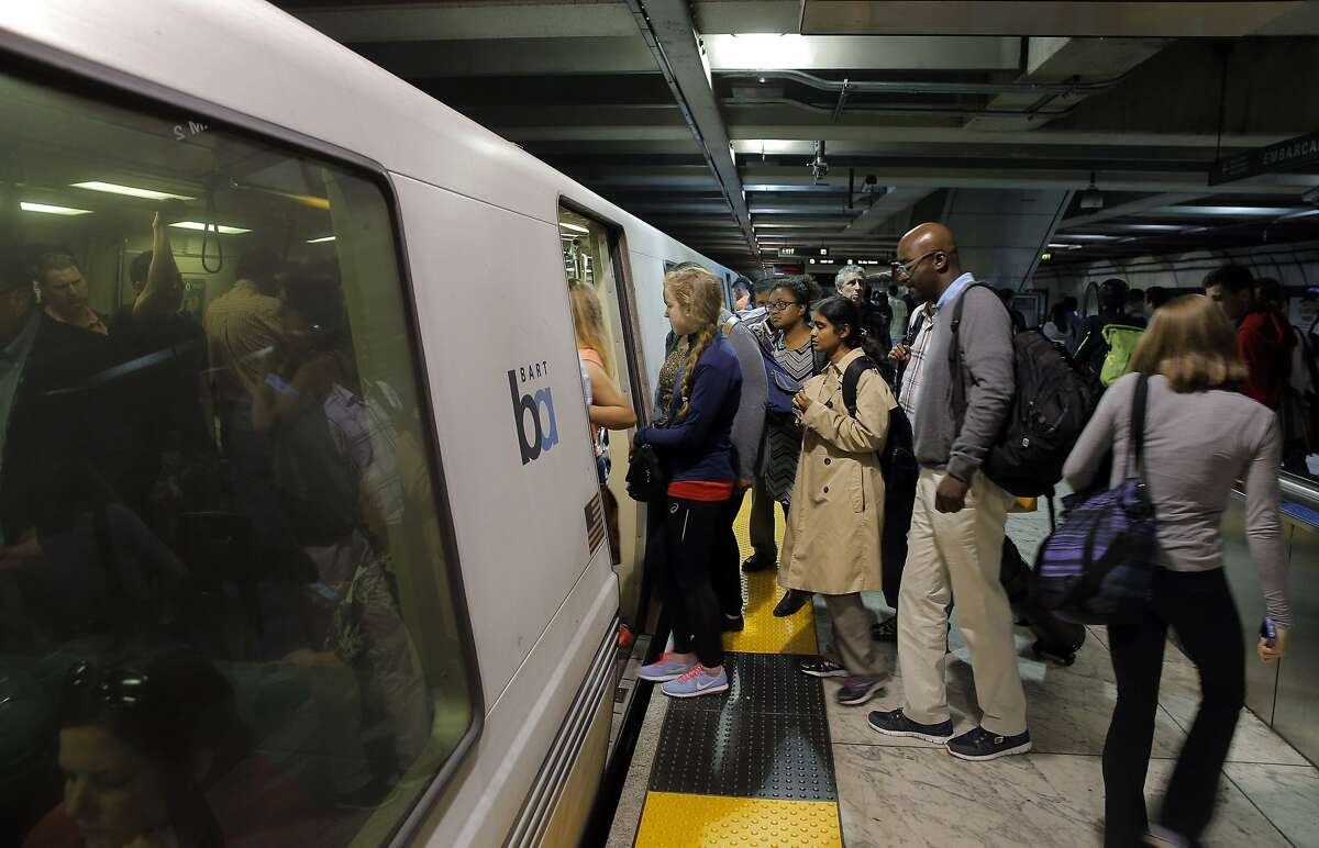 Passenger board a BART train in the Embarcadero BART station in San Francisco, Calif., on Wednesday, July 29, 2015. BART shuts down the Transbay Tube for work on the West Oakland approach to the tube over the weekend of August 1st and 2nd.