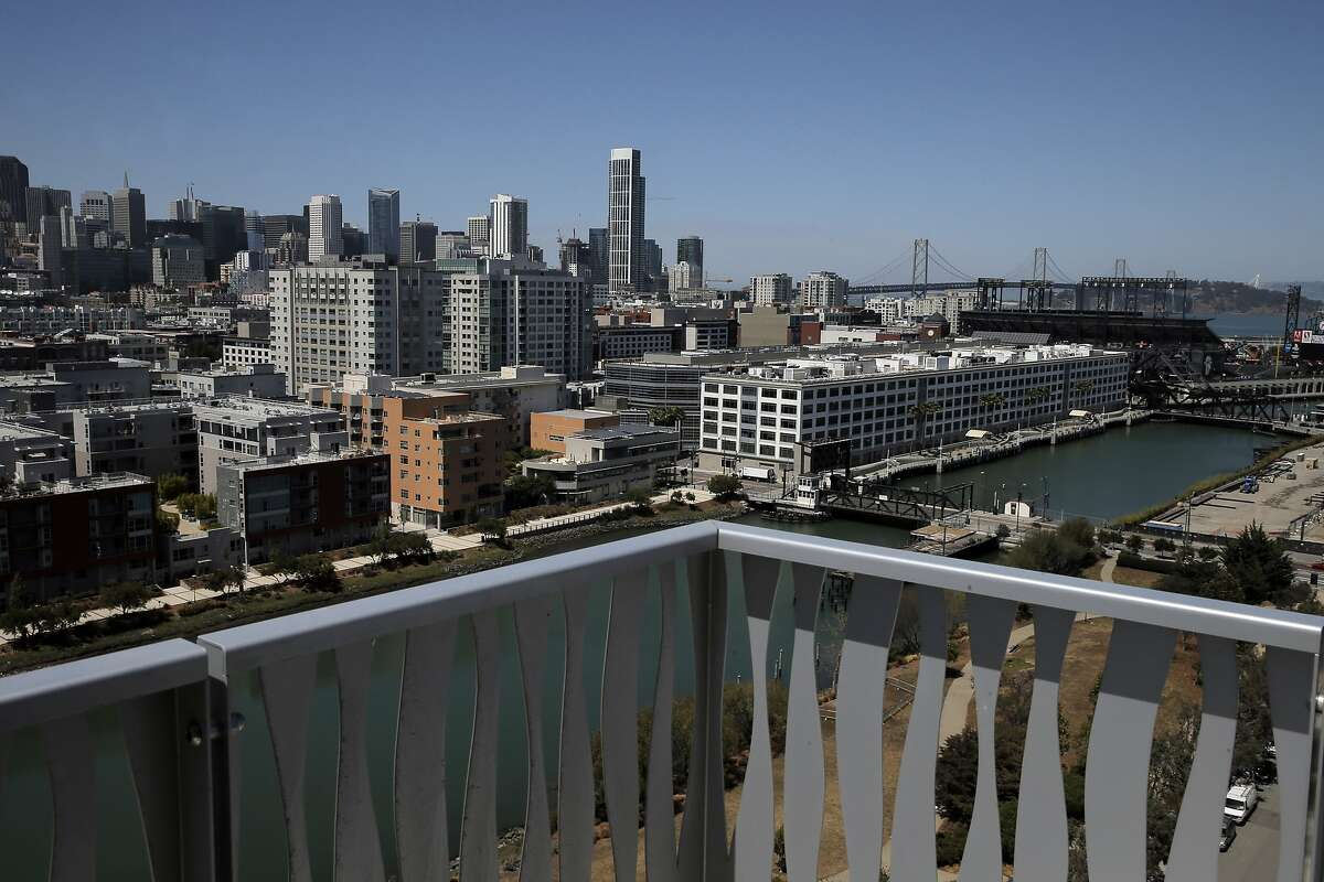 The view from a top-floor balcony at the new Azure Apartments in San Francisco, Calif., on Tuesday, July 28, 2015. The apartments are located in Mission Bay and feature multiple-bedroom arrangements.