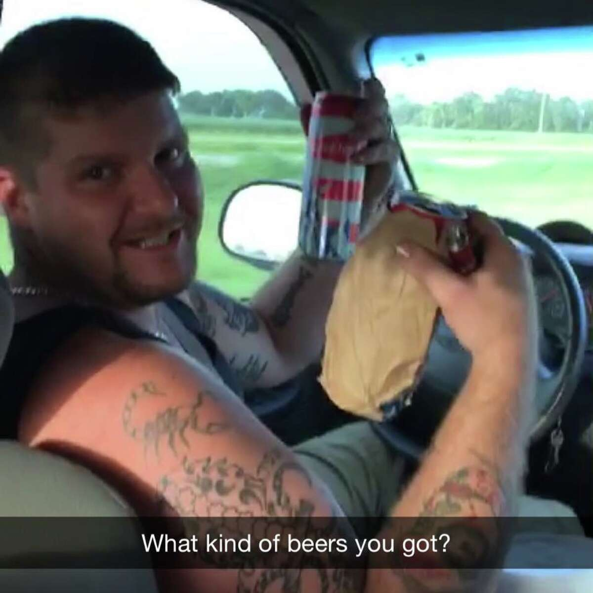 """""""Our driver drinking and driving in South Lousiana. I asked him what kind of beers he was drinking and he replies, """"AMERICAN!"""" (Budweisers) He also mentioned that he is an """"RCA"""" a """"Registered Coon Ass"""" Anyone who lives south of i-10 is considered a """"coonass"""". That's a compliment to the Cajuns. Duck Dynasty people are coonasses! Cool dude who worked in the oil fields for a bit and now taking it day by day to feed his family."""""""
