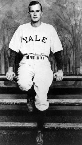 George H. W. Bush poses in his baseball uniform as a student at Yale University in New Haven, Conn. Bush was the first baseman on the Yale team that lost to California in the first College World Series in Kalamazoo, Mich. in 1947. Photo: AP / HO