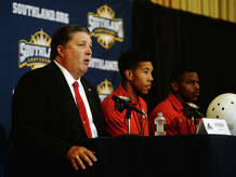Coach Ray Woodard answers a question from the media during Wednesday's media day. The Southland Conference held their annual football media day at the L'Auberge Resort in Lake Charles on Wednesday. Lamar University was represented by Coach Ray Woodard, wide receiver Reggie Begelton, and defensive back Xavier Bethany. Photo taken Wednesday 7/29/15 Jake Daniels/The Enterprise