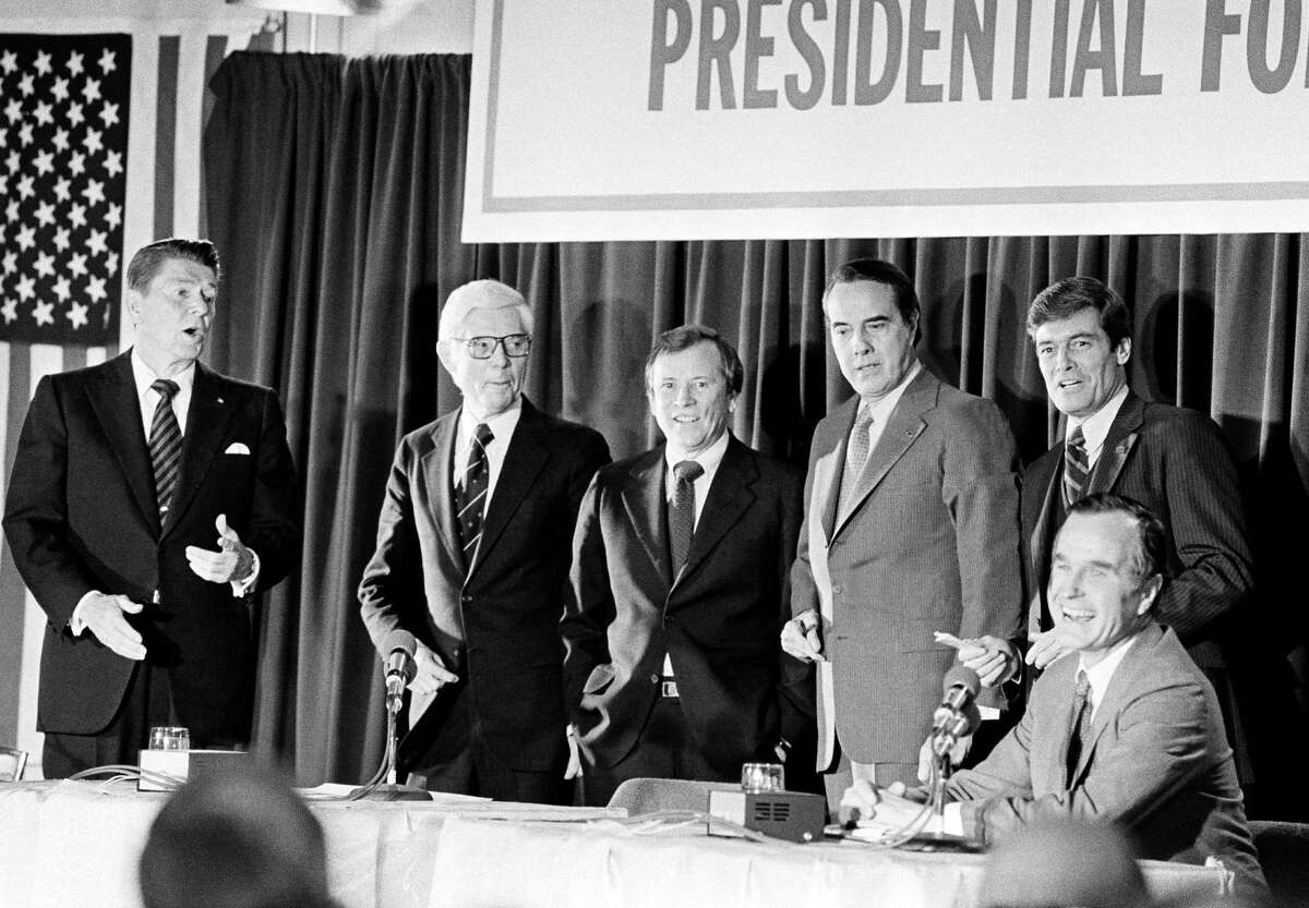 Republican presidential hopefuls Ronald Reagan, left, John Anderson, Howard Baker, Robert Dole Philip Crane who all showed up for a debate that was to be between Ronald Reagan and George Bush Saturday night, February 23, 1980, at Nashua Senior High School in Nashua, N.H.