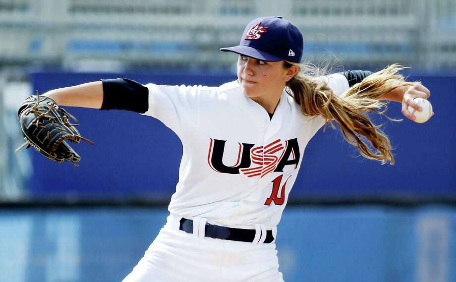 Pitcher Sarah Hudek of the United States throws during a women's baseball game against Venezuela at the Pan Am Games in Ajax, Ontario. This is the first time women's baseball has been played in the Pan Am Games. Photo: Mark Humphrey, STF / AP