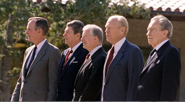 Four former U.S. presidents and President George Bush pose together at the dedication ceremonies for the Ronald Reagan Presidential Library in Simi Valley, Calif in this Nov. 5, 1991 file photo.  From left to right: President George Bush, Ronald Reagan, Jimmy Carter, Gerald Ford, Richard Nixon. Photo: MARCY NIGHSWANDER, AP / AP