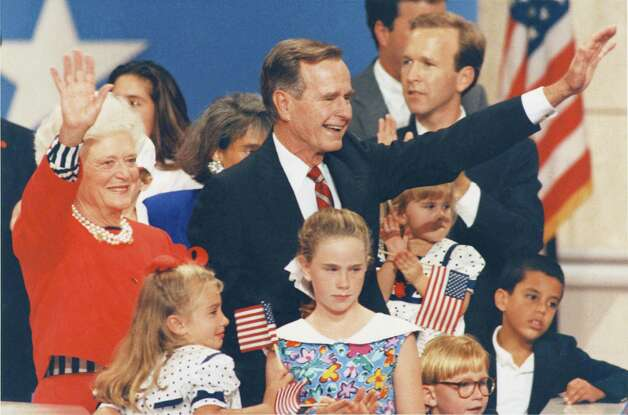 Pres. George H.W. Bush joins his wife, Barbara, and their grandchildren on the podium during the third night of the 1992 Republican National Convention in the Houston Astrodome 08/19/1992 . Photo: Ira Strickstein, © Houston Chronicle / Houston Post files