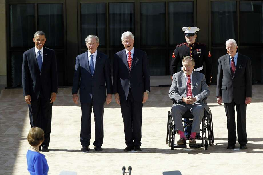 The five living Presidents: (from left) Barack Obama, George W. Bush, Bill Clinton, George H.W. Bush, and Jimmy Carter, will attend a hurricane relief concert at Texas A&M University later this month. Photo: Tom Fox, Staff Photographer / The Dallas Morning News