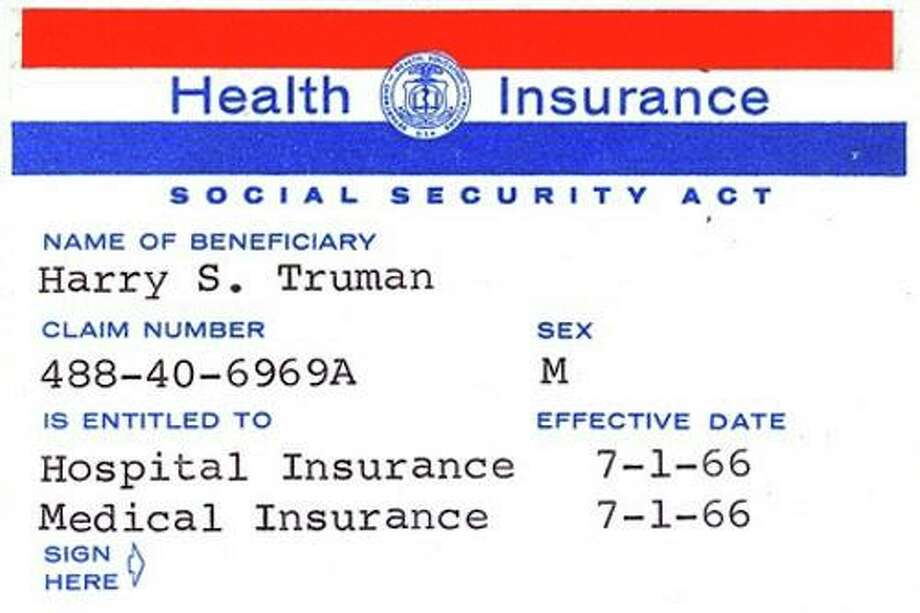 At the bill-signing ceremony President Johnson enrolled President Truman as the first Medicare beneficiary and presented him with the first Medicare card. This is President Truman's application for the optional Part B medical care coverage, which President Johnson signed as a witness. SSA History Archives.