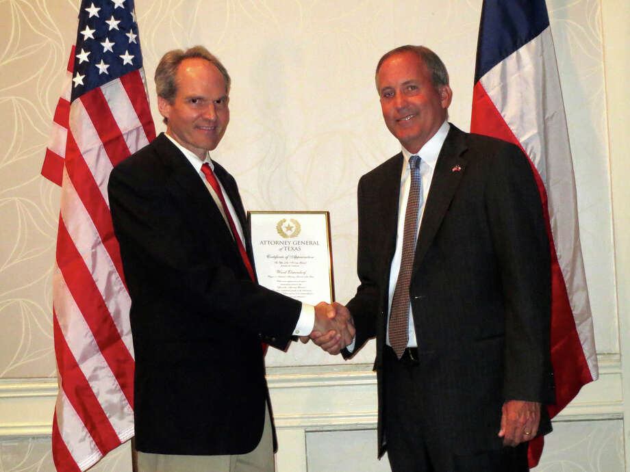 Ward Elmendorf of San Antonio recognized by Attorney General Ken Paxton. Photo: Courtesy Photo