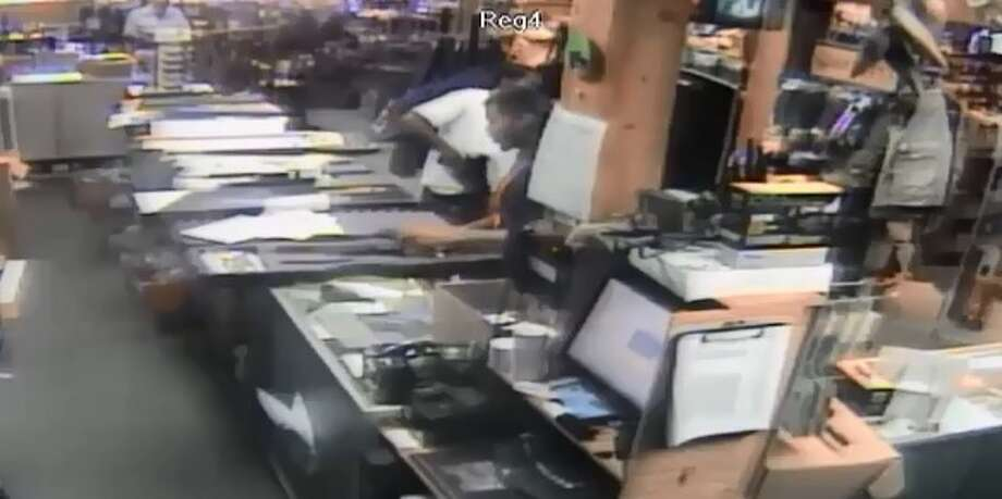 On Thursday the Fort Bend County Sheriff's Office released footage of a suspect shoving a submachine gun down his pants in an area gun store and leaving the scene. The theft occurred on the morning of June 19 at 10 a.m. at Fountain Firearms, located in the 9400 block of Highway 6 South. According to officials the suspect managed to place a Scorpion EVO3 9mm semi-automatic rifle, complete with a folding stock. Photo: Fort Bend County Crime Stoppers