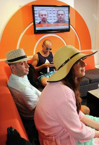Models Ashely Veley of Clifton Park, right, Daniel Weiss of Clifton Park, left, and Frank Dianda of Hudson wait in the green room before appearing on The Today Show on Wednesday, June 10, 2015 in New York, N.Y.  (Lori Van Buren / Times Union) Photo: Lori Van Buren / 00031899A