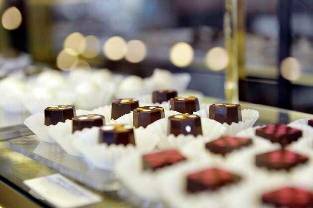 A view chocolates for sale inside the Verdigris Art and Tea shop on Warren St. on Thursday, June 25, 2015, in Hudson, N.Y.    (Paul Buckowski / Times Union) Photo: PAUL BUCKOWSKI / 00032353A
