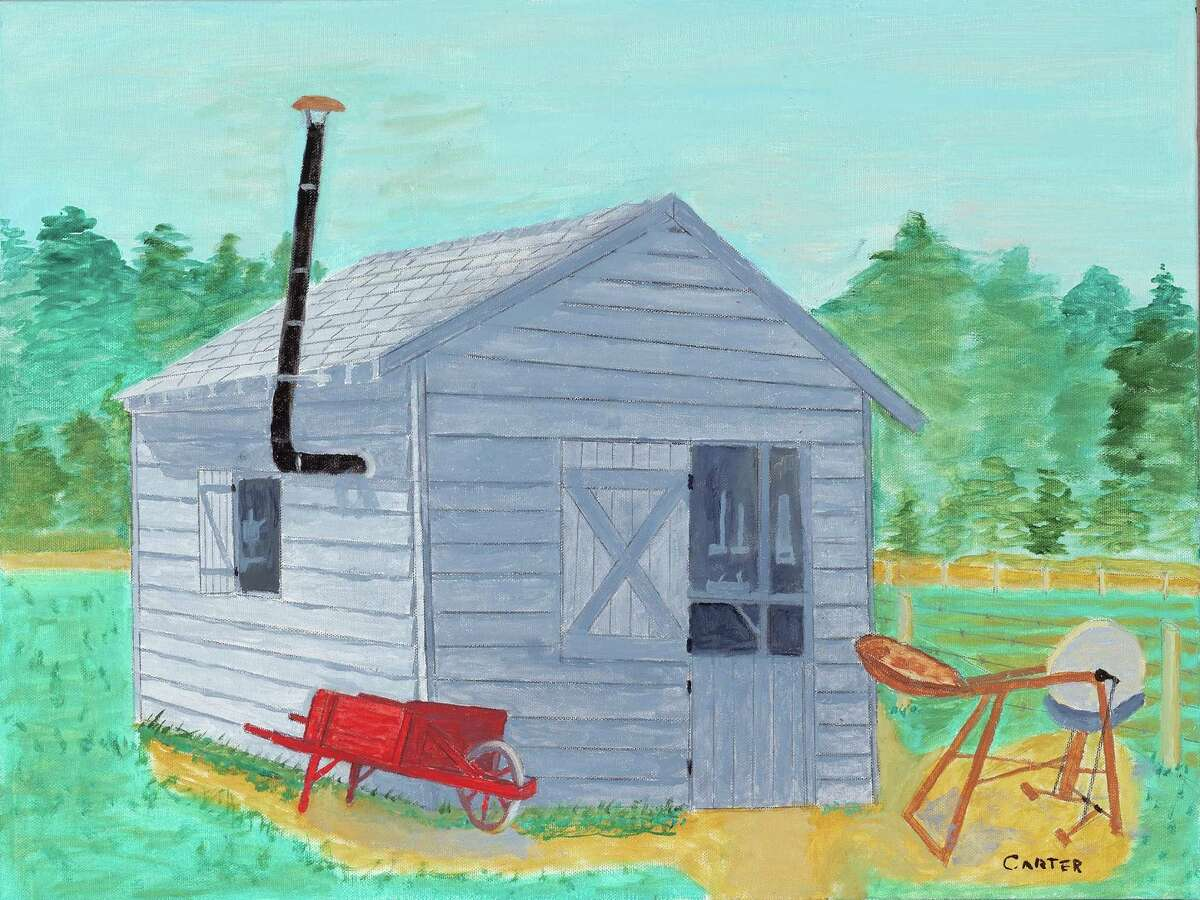 Jimmy Carter's painting of his family's blacksmith shop in Archery, Ga., where he grew up.