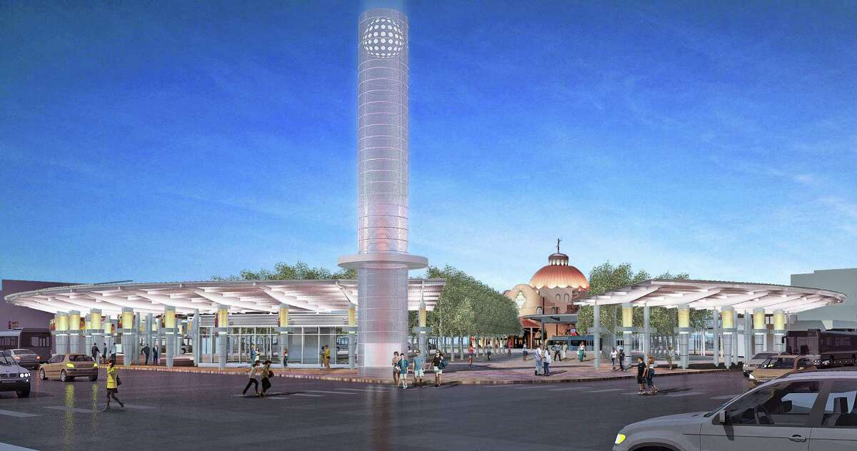 A daytime rendering of Centro Plaza shows the lighted tower sculpture, which would stand at the corner of Frio and Travis streets.