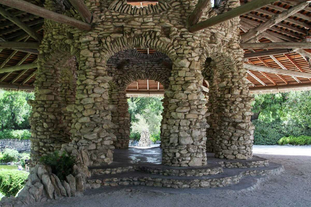 The Japanese Tea Garden Pavilion has undergone several upgrades over the past few years, including making the roof watertight, and installing lanterns on the surrounding pillars.