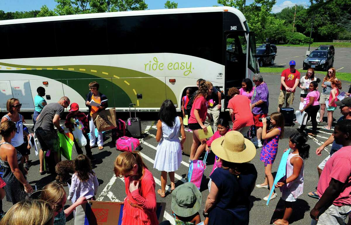 Kids from the Fresh Air Fund program who arrived earlier this summer to join their host families at Roger Ludlowe Middle School in Fairfield, Conn..