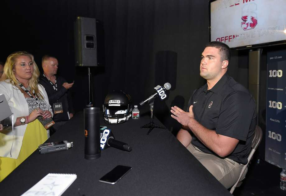 Stanford offensive tackle Kyle Murphy chats in Burbank. The Cardinal were picked to finish second in the Pac-12 North. Photo: Mark J. Terrill, Associated Press