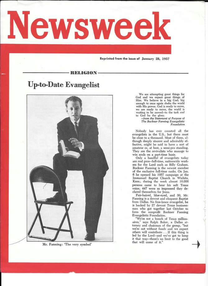 A reprint from a 1957 story in Newsweek about Buckner Fanning. Photo: Courtesy Fanning Family Archive
