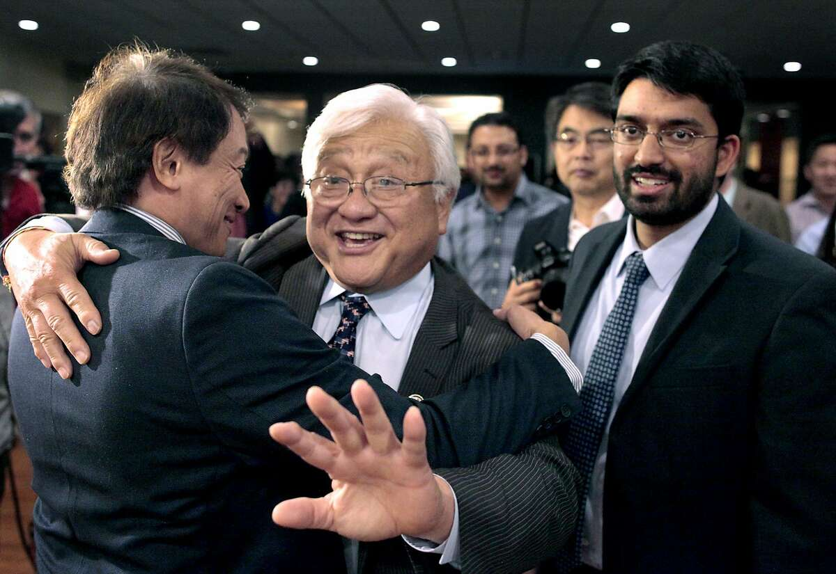 Representative Mike Honda greets supporters at Zahir Bistro on Tuesday, Nov. 4, 2014 in Milpitas, Calif. Ro Khana and Mike Honda went head-to-head for a seat in California's 17th Congressional District Seat.