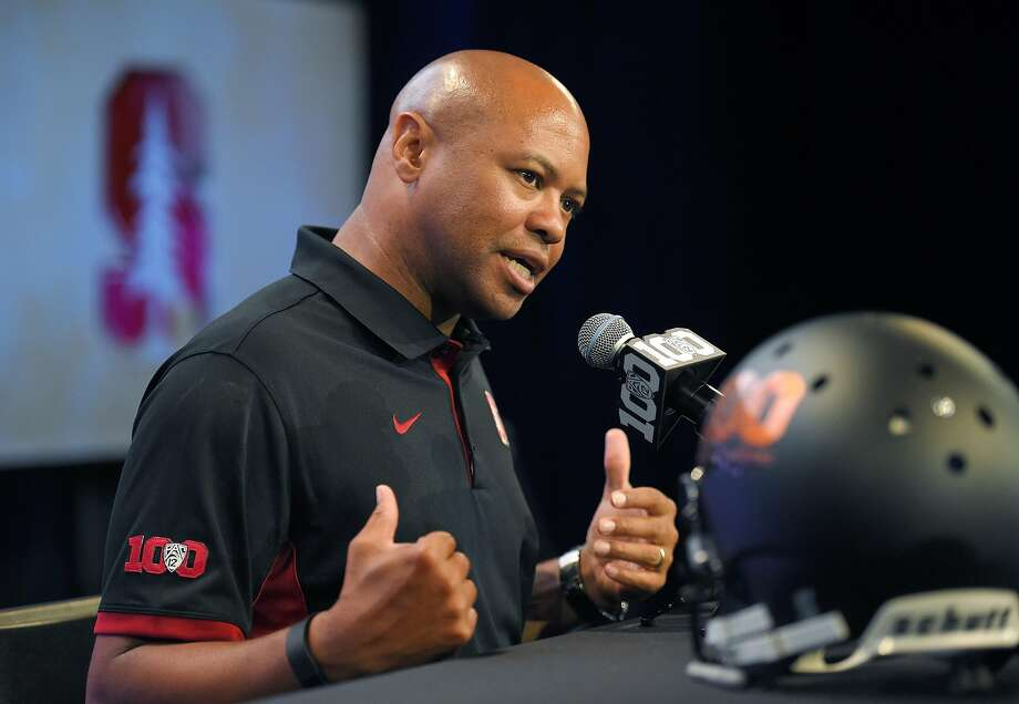 Stanford head coach David Shaw speaks to reporters during NCAA college Pac-12 Football Media Days, Thursday, July 30, 2015, in Burbank, Calif. (AP Photo/Mark J. Terrill) Photo: Mark J. Terrill, Associated Press