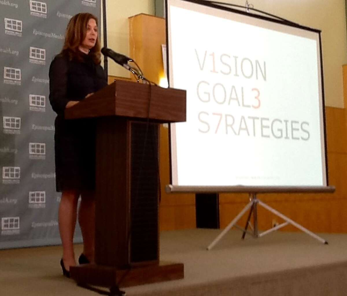Elena Marks, president and CEO of the Episcopal Health Foundation, explains the organization's funding goals and strategies during a Wednesday news conference.