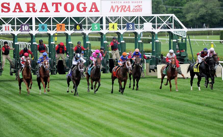 Mrs McDougal (9), with jockey Irad Ortiz Jr., and other horses break from the gate during the Lake G