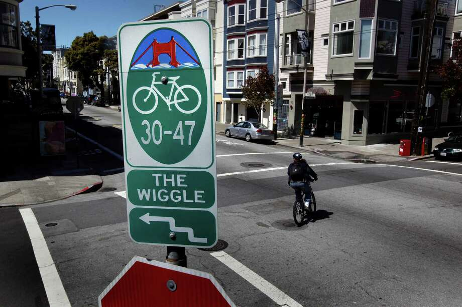 "Corner of Haight  and Pierce Streets,  for a Bike About Town feature on the bike paththat winds it's way  through the Lower Haight known to bikers as the, ""wiggle"", in San Francisco, Calif. on Thursday April 2, 2009. Photo: Michael Macor / The Chronicle / SFC"