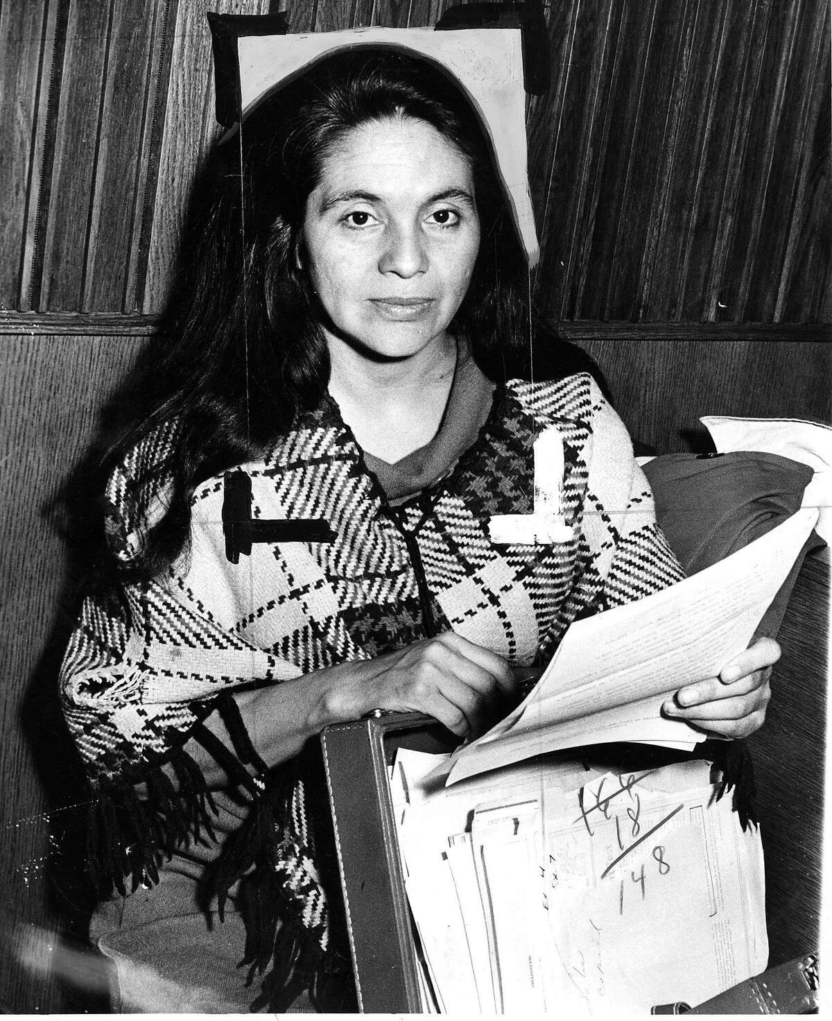 Dolores Huerta of the United Farmer Workers, at a subcommittee meeting on migratory labor Photo ran January 14, 1972, p. 16