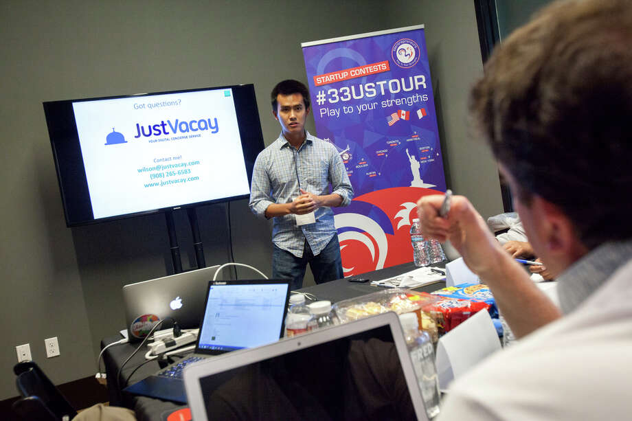 Wilson Lee, founder of JustVacay, makes his pitch to the San Francisco event for food startups. The event was sponsored by 33entrepreneurs of France. Photo: Santiago Mejia / Photos By Santiago Mejia / Special To The Chronicle / ONLINE_YES