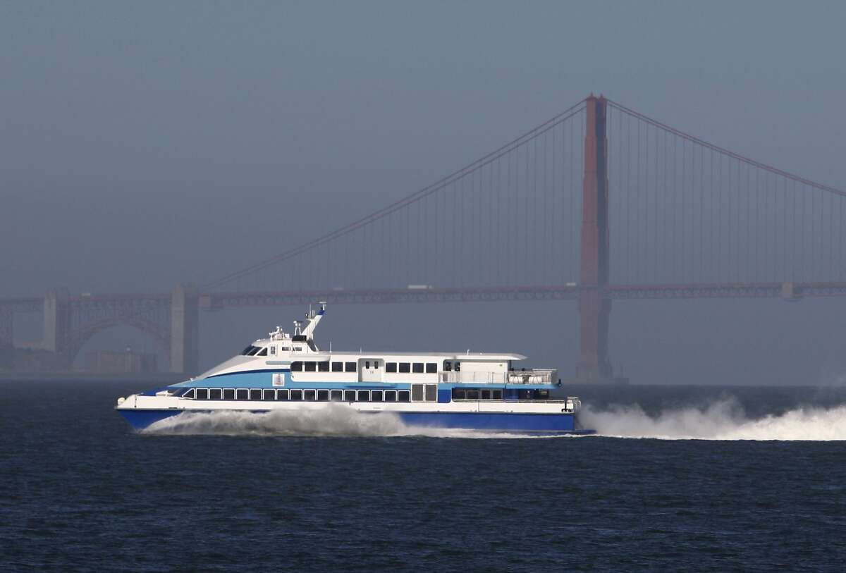 A Golden Gate Ferry boat glides across the bay in this file photo.