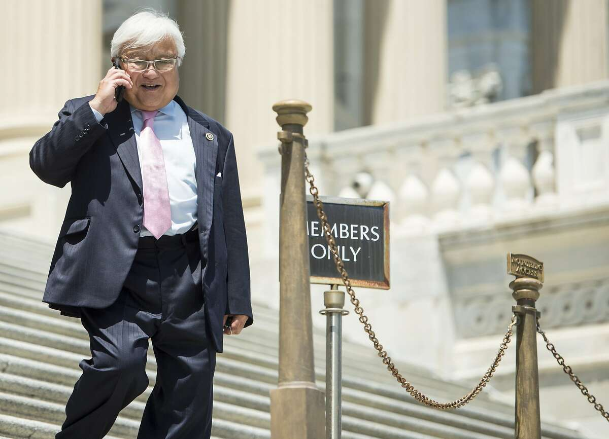 UNITED STATES - JULY 16: Rep. Mike Honda, D-Calif., walks down the House steps following the final vote of the week on Thursday, July 16, 2015. (Photo By Bill Clark/CQ Roll Call)