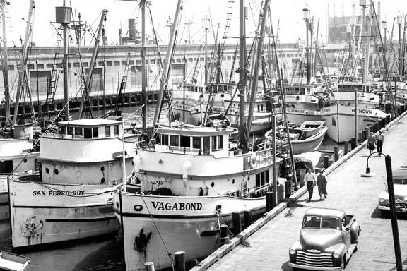 Fishing boats are lined up at Fisherman's Wharf in San Francisco on Sept. 28, 1949.